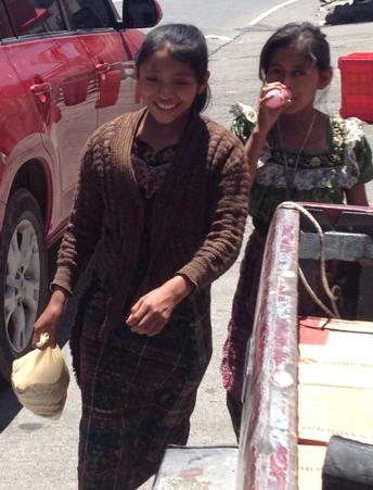 girls running an errand